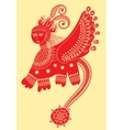 ethnic fantastic animal doodle design in karakoko vector image