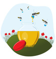 Bees carrying honey to the pot vector image