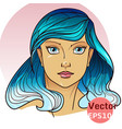 beautiful girl with blue hair vector image