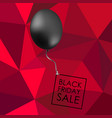 black balloon on red polygonal background with vector image