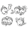 Doodle set with acorn characters vector image