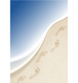 Footprints in the sand by the sea vector image