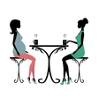 Silhouette of two fashionable women vector image