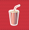 sticker of soda cup on red striped background vector image