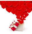 Open box with flying hearts vector image vector image
