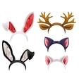 Set mask cat rabbit deer antler and ears vector image