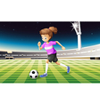 A girl at the field playing football vector image