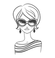 Fashionable girl in sunglasses vector image