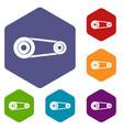 mechanic belt icons set hexagon vector image