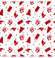 christmas red ornament doodle seamless pattern vector image