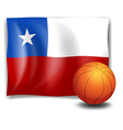 A ball in front of the flag of Chile vector image vector image