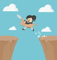 Business woman riding over obstacles vector image