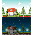 Private house at day time and night time vector image