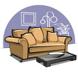 couch with pillows and table vector image vector image
