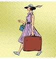 Woman traveler with suitcase vector image