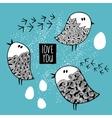 Set of cute doodle birds vector image
