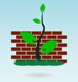 brick wall grass concept vector image