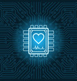 heart shape icon on chip over blue circuit vector image