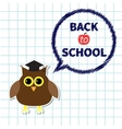 Owl in graduate hat academic cap and round think vector image