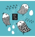 Set of cute doodle birds vector image