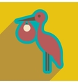 flat icon with long shadow Stork and newborn baby vector image
