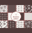 flowers hearts circles set of seamless patterns vector image