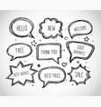 hand-drawn speech and thought bubbles on white vector image