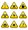 Danger risk warning modern traingle signs set vector image
