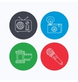 Microphone retro camera and photo icons vector image