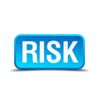 Risk blue 3d realistic square isolated button vector image