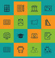 set of 16 education icons includes document case vector image