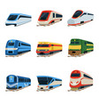 train locomotive set railway carriage vector image