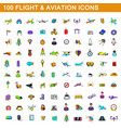 100 flight and aviation icons set cartoon style vector image