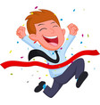 Happy businessman cartoon running at the finish li vector image