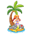 A mermaid in the island vector image vector image