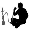 man smoking nargila vector image