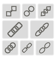 monochrome icons with chains vector image