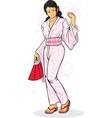 Girl in Japanese Kimono vector image