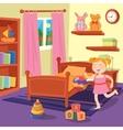 Happy Girl Playing Ball in Children Bedroom vector image