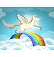 Pegasus flying over the rainbow vector image