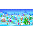 winter landscape with snowcovered houses snowman vector image