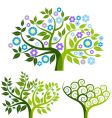 abstract tree with flowers set vector image