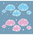 Blue Clouds with White Border vector image