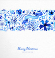 Merry Christmas hand drawn pattern vector image
