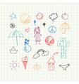 Summer doodles set vector image vector image