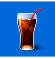 Cola or soda glass with ice cubes isolated on blue vector image