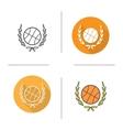 Basketball ball in laurel wreath icon vector image
