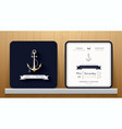 Vintage Nautical Anchors Wedding Invitation Card vector image