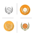 Basketball ball in laurel wreath icon vector image