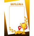 diploma with realistic gold awards certificate vector image